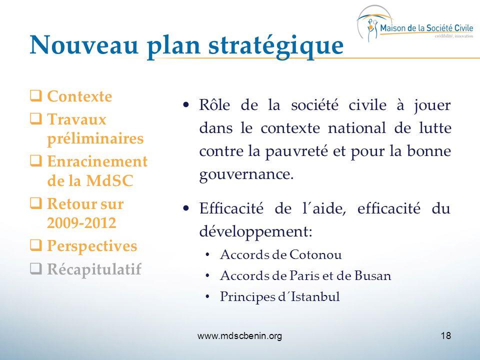 Nouveau plan stratégique  Contexte  Travaux préliminaires  Enracinement de la MdSC  Retour sur 2009-2012  Perspectives  Récapitulatif Rôle de la