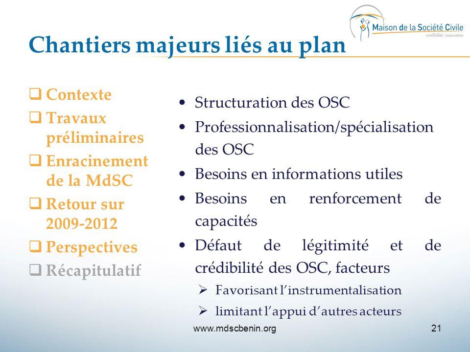 Chantiers majeurs liés au plan  Contexte  Travaux préliminaires  Enracinement de la MdSC  Retour sur 2009-2012  Perspectives  Récapitulatif Stru
