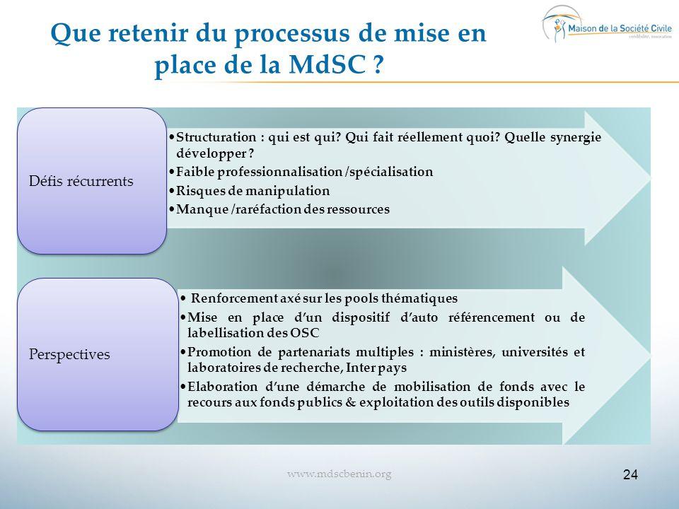 24 www.mdscbenin.org Que retenir du processus de mise en place de la MdSC ? Structuration : qui est qui? Qui fait réellement quoi? Quelle synergie dév
