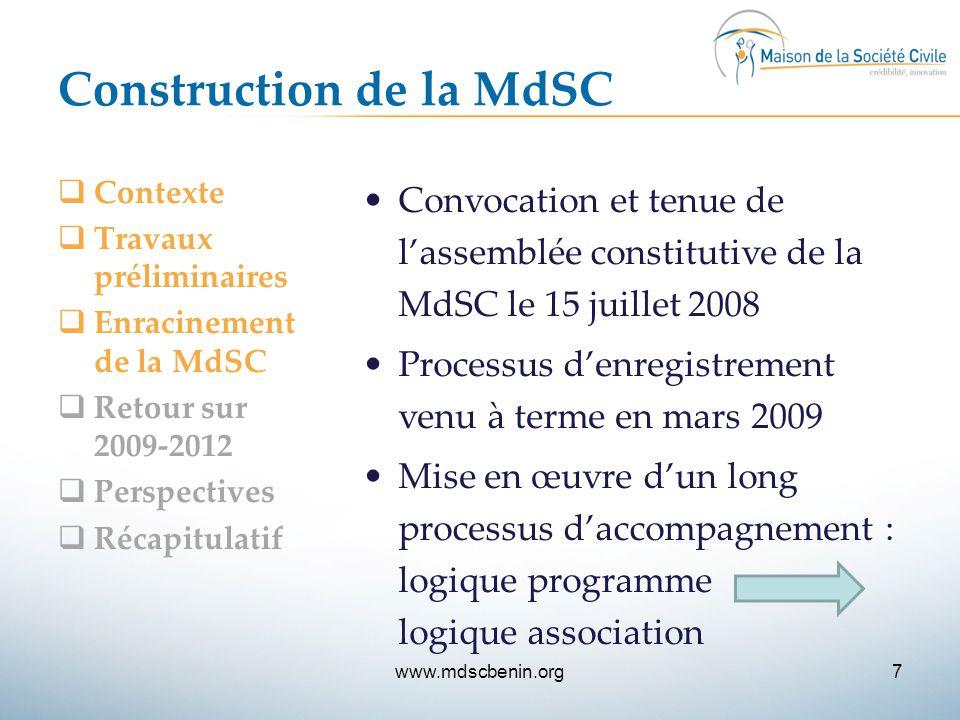 Construction de la MdSC  Contexte  Travaux préliminaires  Enracinement de la MdSC  Retour sur 2009-2012  Perspectives  Récapitulatif Convocation