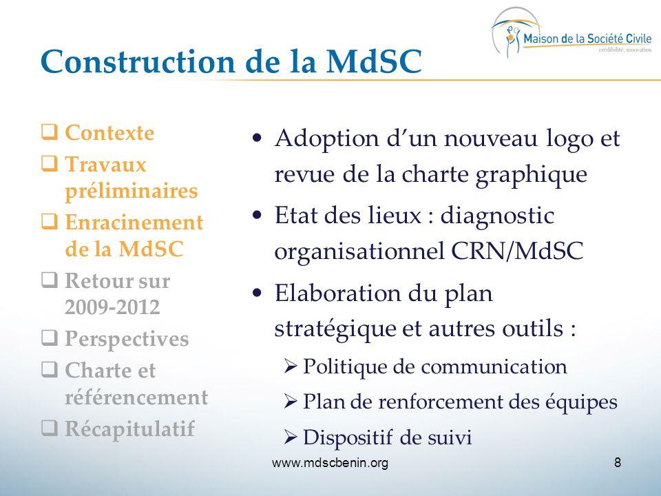 Construction de la MdSC  Contexte  Travaux préliminaires  Enracinement de la MdSC  Retour sur 2009-2012  Perspectives  Charte et référencement 