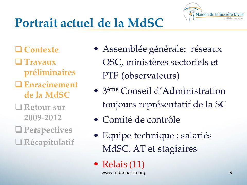 Portrait actuel de la MdSC  Contexte  Travaux préliminaires  Enracinement de la MdSC  Retour sur 2009-2012  Perspectives  Récapitulatif Assemblé