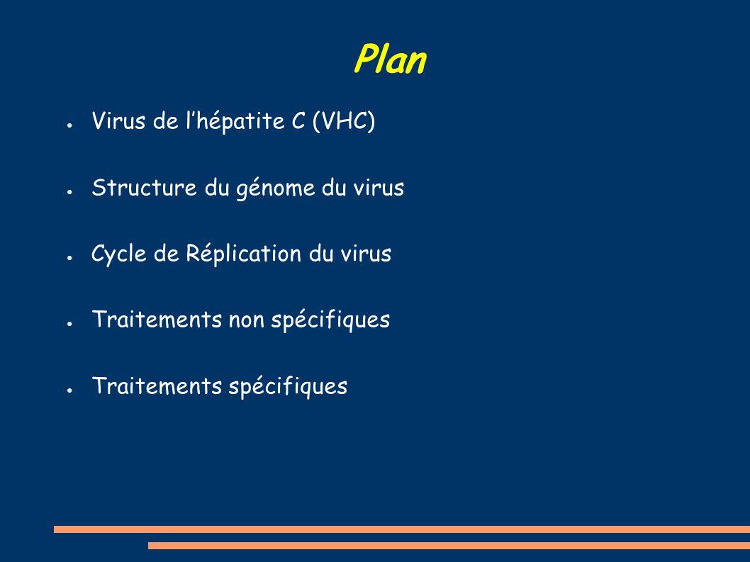 Plan ● Virus de l'hépatite C (VHC) ● Structure du génome du virus ● Cycle de Réplication du virus ● Traitements non spécifiques ● Traitements spécifiq