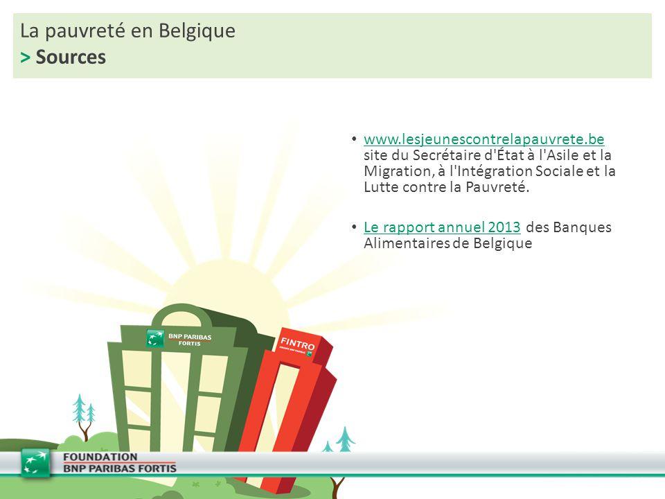La pauvreté en Belgique > Sources www.lesjeunescontrelapauvrete.be site du Secrétaire d'État à l'Asile et la Migration, à l'Intégration Sociale et la