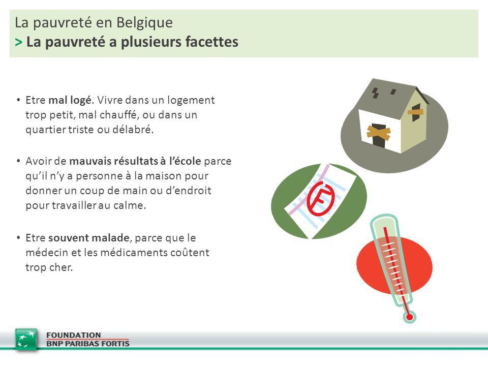La pauvreté en Belgique > La pauvreté a plusieurs facettes Etre mal logé. Vivre dans un logement trop petit, mal chauffé, ou dans un quartier triste o