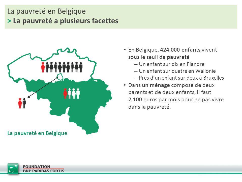 La pauvreté en Belgique > La pauvreté a plusieurs facettes En Belgique, 424.000 enfants vivent sous le seuil de pauvreté – Un enfant sur dix en Flandr