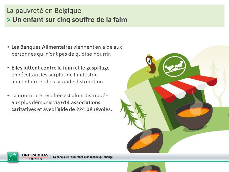 La pauvreté en Belgique > Un enfant sur cinq souffre de la faim Mais les démunis sont de plus en plus nombreux à faire appel aux Banques Alimentaires de Belgique Source: rapport d'activité 2013 des Banques Alimentaires de Belgique