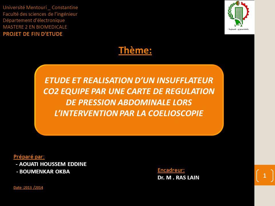 Préparé par: - AOUATI HOUSSEM EDDINE - BOUMENKAR OKBA Date :2013 /2014 ETUDE ET REALISATION D'UN INSUFFLATEUR CO2 EQUIPE PAR UNE CARTE DE REGULATION D