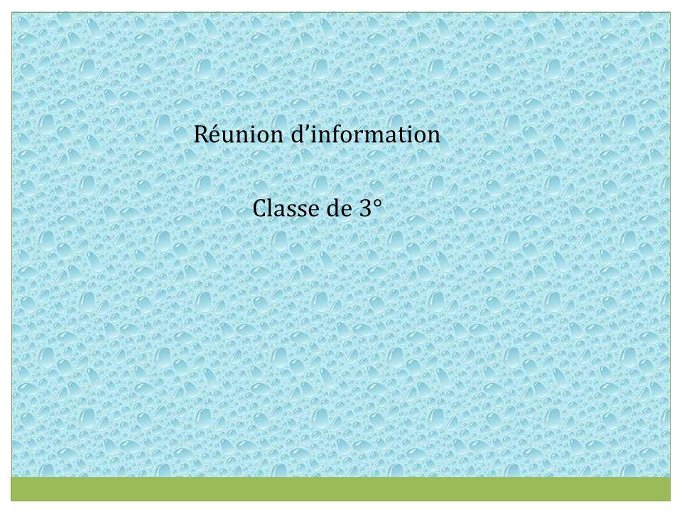 Réunion d'information Classe de 3°