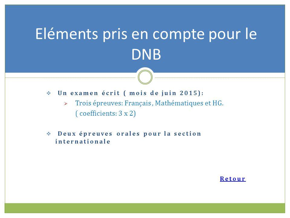  Un examen écrit ( mois de juin 2015):  Trois épreuves: Français, Mathématiques et HG.