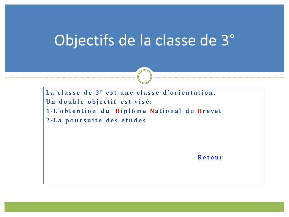 La classe de 3° est une classe d'orientation, Un double objectif est visé: 1-L'obtention du Diplôme National du Brevet 2-La poursuite des études Retour Objectifs de la classe de 3°