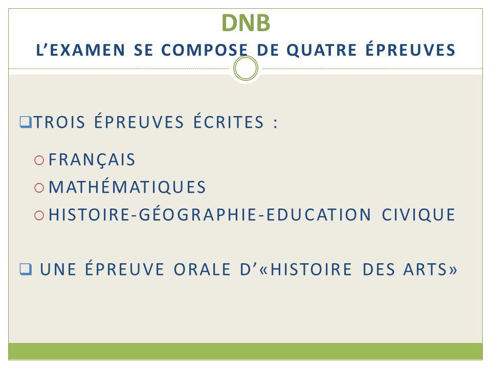 DNB L'EXAMEN SE COMPOSE DE QUATRE ÉPREUVES  TROIS ÉPREUVES ÉCRITES :  FRANÇAIS  MATHÉMATIQUES  HISTOIRE-GÉOGRAPHIE-EDUCATION CIVIQUE  UNE ÉPREUVE ORALE D'«HISTOIRE DES ARTS»