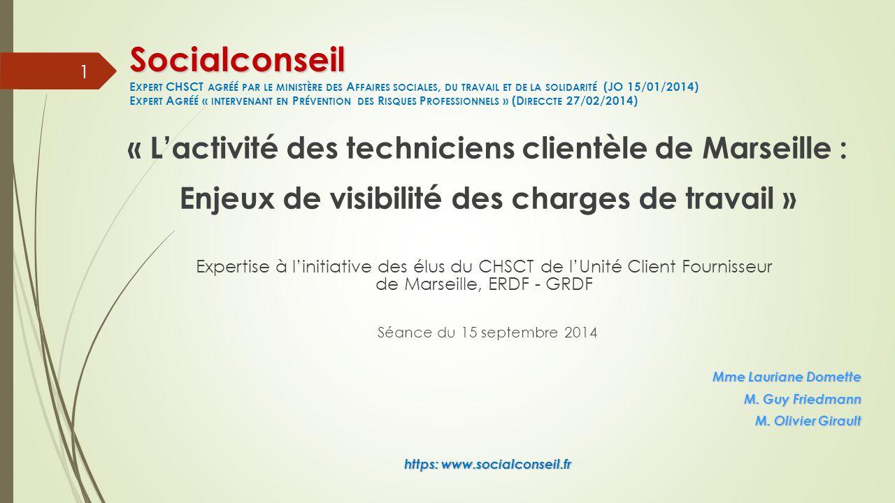 « L'activité des techniciens clientèle de Marseille : Enjeux de visibilité des charges de travail » Expertise à l'initiative des élus du CHSCT de l'Unité Client Fournisseur de Marseille, ERDF - GRDF Séance du 15 septembre 2014 Mme Lauriane Domette M.