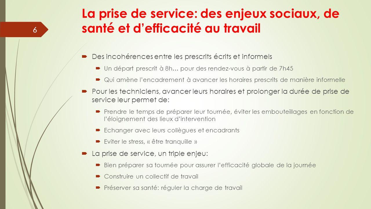 La prise de service: des enjeux sociaux, de santé et d'efficacité au travail  Des incohérences entre les prescrits écrits et informels  Un départ pr