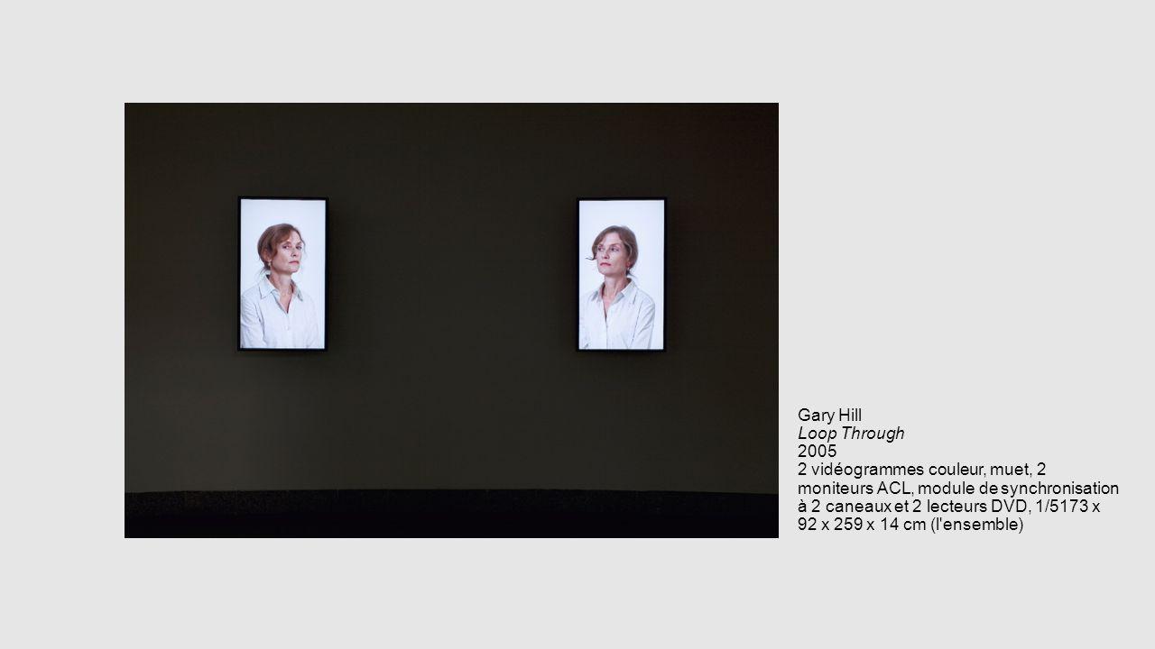 Gary Hill Loop Through 2005 2 vidéogrammes couleur, muet, 2 moniteurs ACL, module de synchronisation à 2 caneaux et 2 lecteurs DVD, 1/5173 x 92 x 259