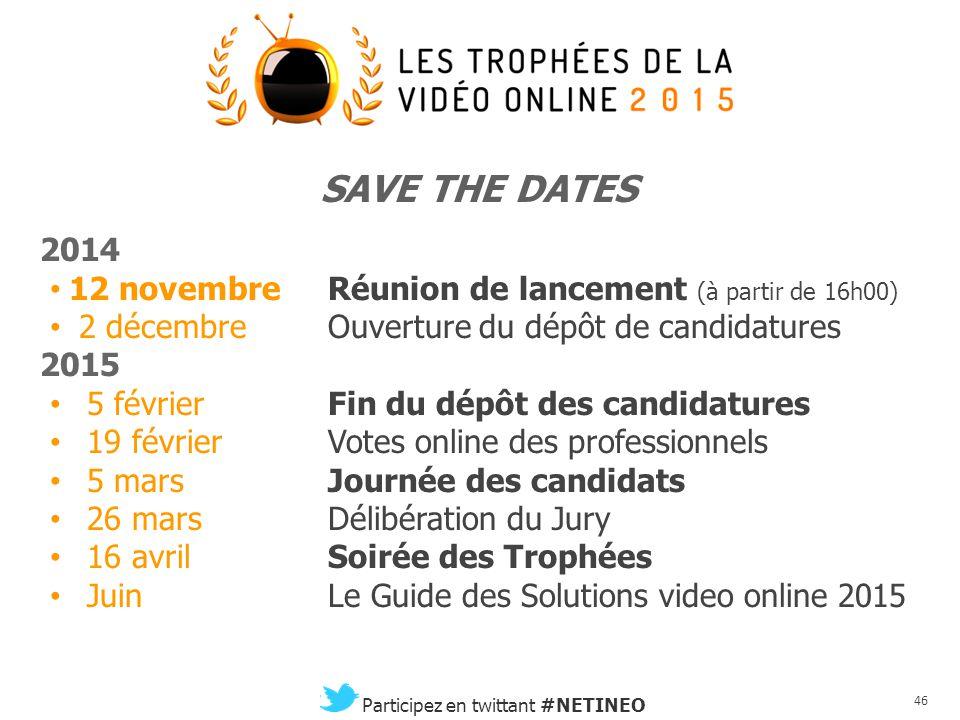 45 Participez en twittant #NETINEO Le Président du Jury 2015 Guillaume du Gardier Head of Digital