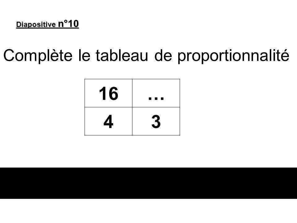 Diapositive n°10 Complète le tableau de proportionnalité 16… 43