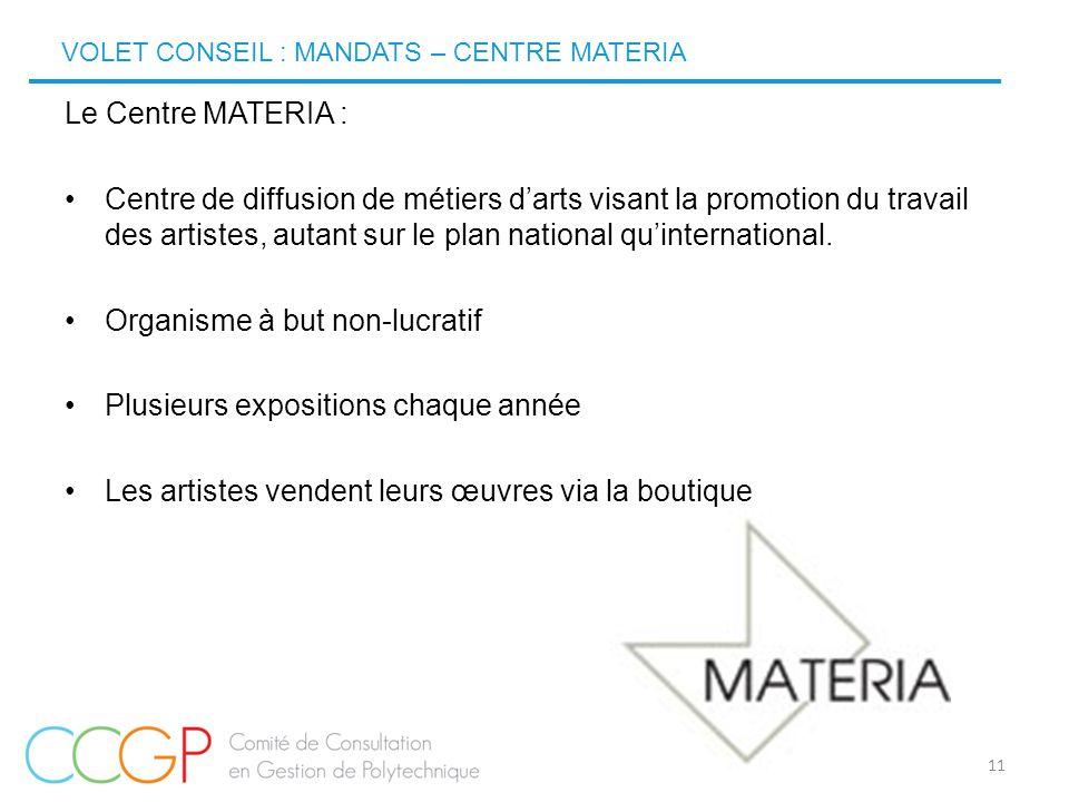 VOLET CONSEIL : MANDATS – CENTRE MATERIA 11 Le Centre MATERIA : Centre de diffusion de métiers d'arts visant la promotion du travail des artistes, aut