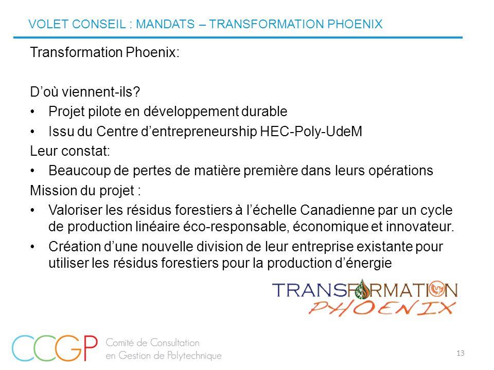 VOLET CONSEIL : MANDATS – TRANSFORMATION PHOENIX 13 Transformation Phoenix: D'où viennent-ils? Projet pilote en développement durable Issu du Centre d