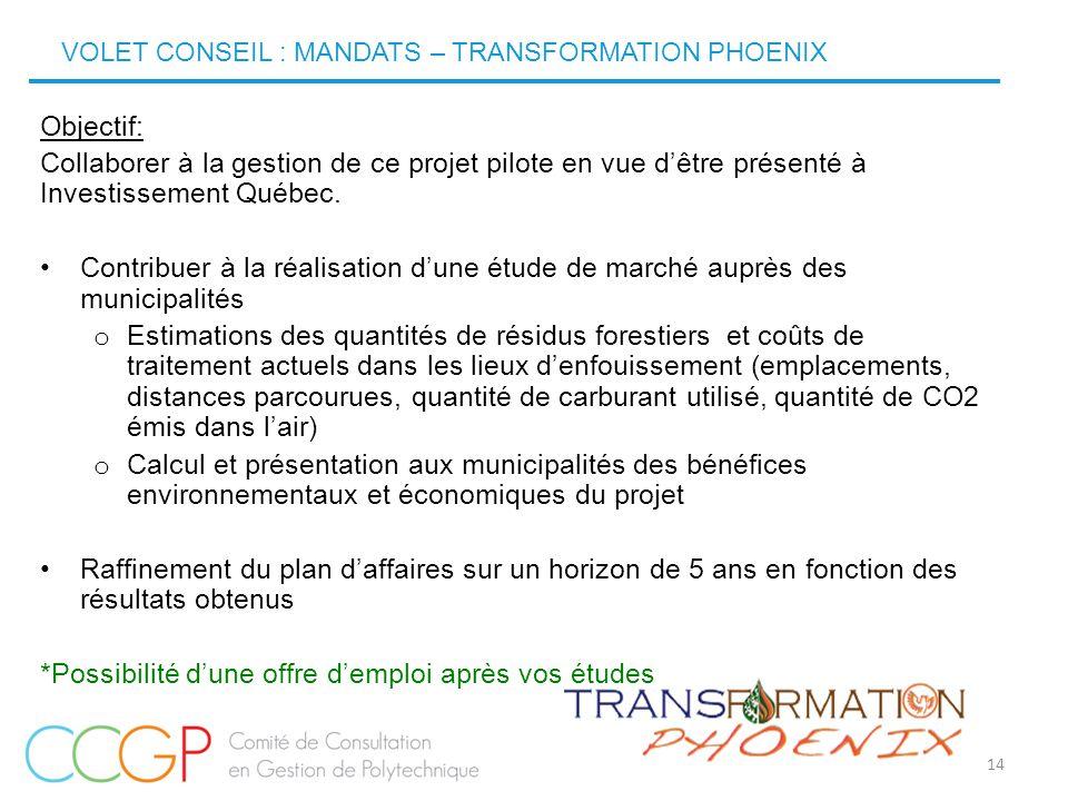 14 Objectif: Collaborer à la gestion de ce projet pilote en vue d'être présenté à Investissement Québec. Contribuer à la réalisation d'une étude de ma