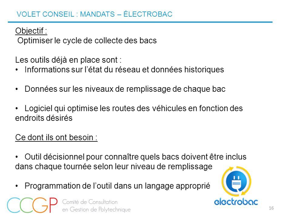 16 Objectif : Optimiser le cycle de collecte des bacs Les outils déjà en place sont : Informations sur l'état du réseau et données historiques Données