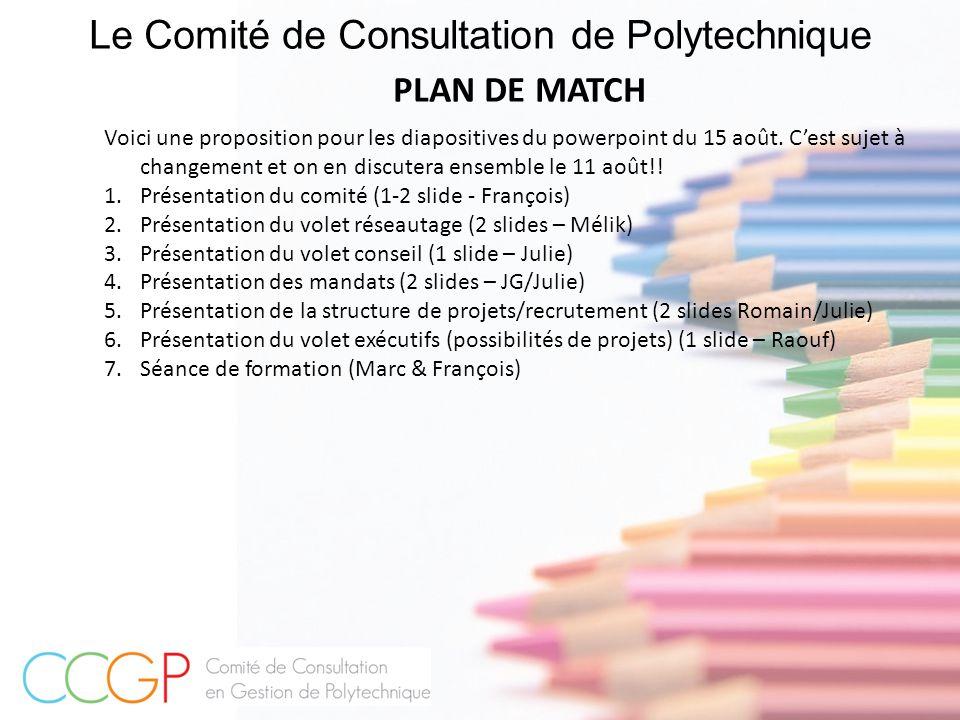 Le Comité de Consultation de Polytechnique PLAN DE MATCH Voici une proposition pour les diapositives du powerpoint du 15 août. C'est sujet à changemen