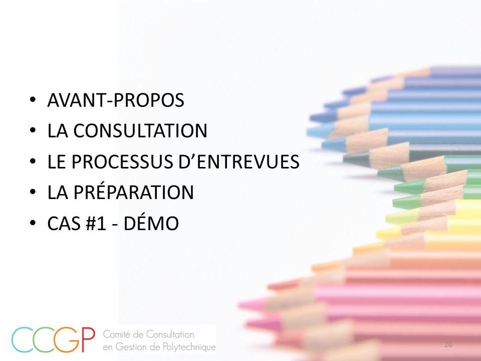AVANT-PROPOS LA CONSULTATION LE PROCESSUS D'ENTREVUES LA PRÉPARATION CAS #1 - DÉMO 20