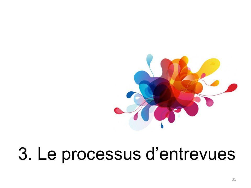 3. Le processus d'entrevues 31