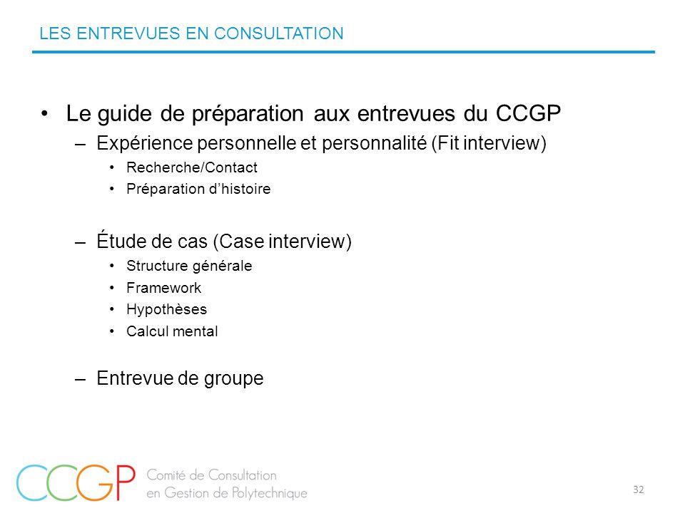 Le guide de préparation aux entrevues du CCGP –Expérience personnelle et personnalité (Fit interview) Recherche/Contact Préparation d'histoire –Étude