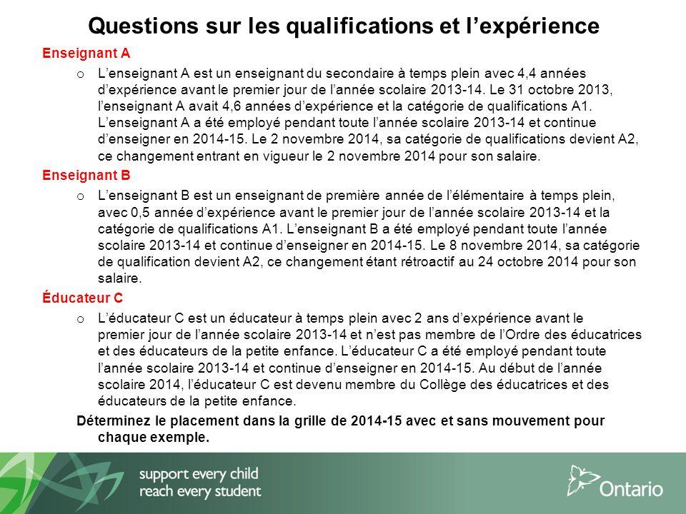 Questions sur les qualifications et l'expérience Enseignant A o L'enseignant A est un enseignant du secondaire à temps plein avec 4,4 années d'expérience avant le premier jour de l'année scolaire 2013-14.