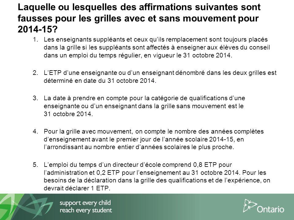 Laquelle ou lesquelles des affirmations suivantes sont fausses pour les grilles avec et sans mouvement pour 2014-15.