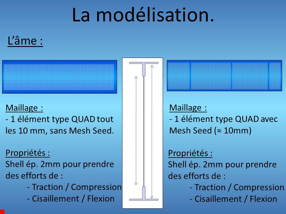 La modélisation. L'âme : Maillage : - 1 élément type QUAD tout les 10 mm, sans Mesh Seed. Propriétés : Shell ép. 2mm pour prendre des efforts de : - T