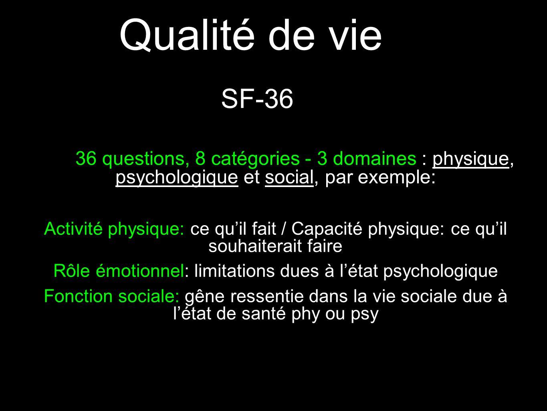 Qualité de vie 36 questions, 8 catégories - 3 domaines : physique, psychologique et social, par exemple: Activité physique: ce qu'il fait / Capacité physique: ce qu'il souhaiterait faire Rôle émotionnel: limitations dues à l'état psychologique Fonction sociale: gêne ressentie dans la vie sociale due à l'état de santé phy ou psy SF-36