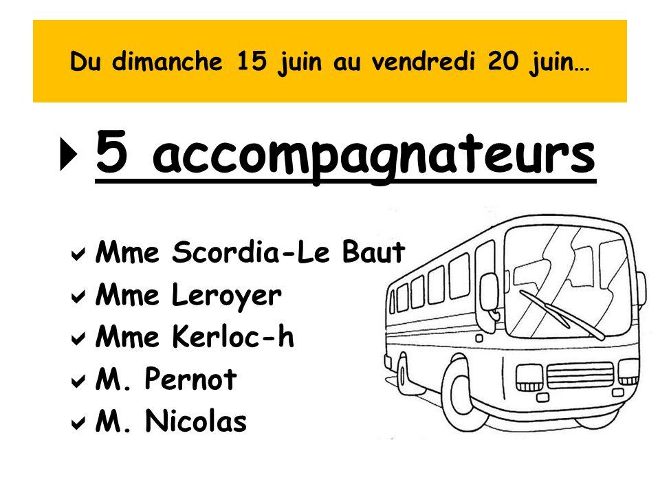 Du dimanche 15 juin au vendredi 20 juin…  5 accompagnateurs  Mme Scordia-Le Baut  Mme Leroyer  Mme Kerloc-h  M. Pernot  M. Nicolas