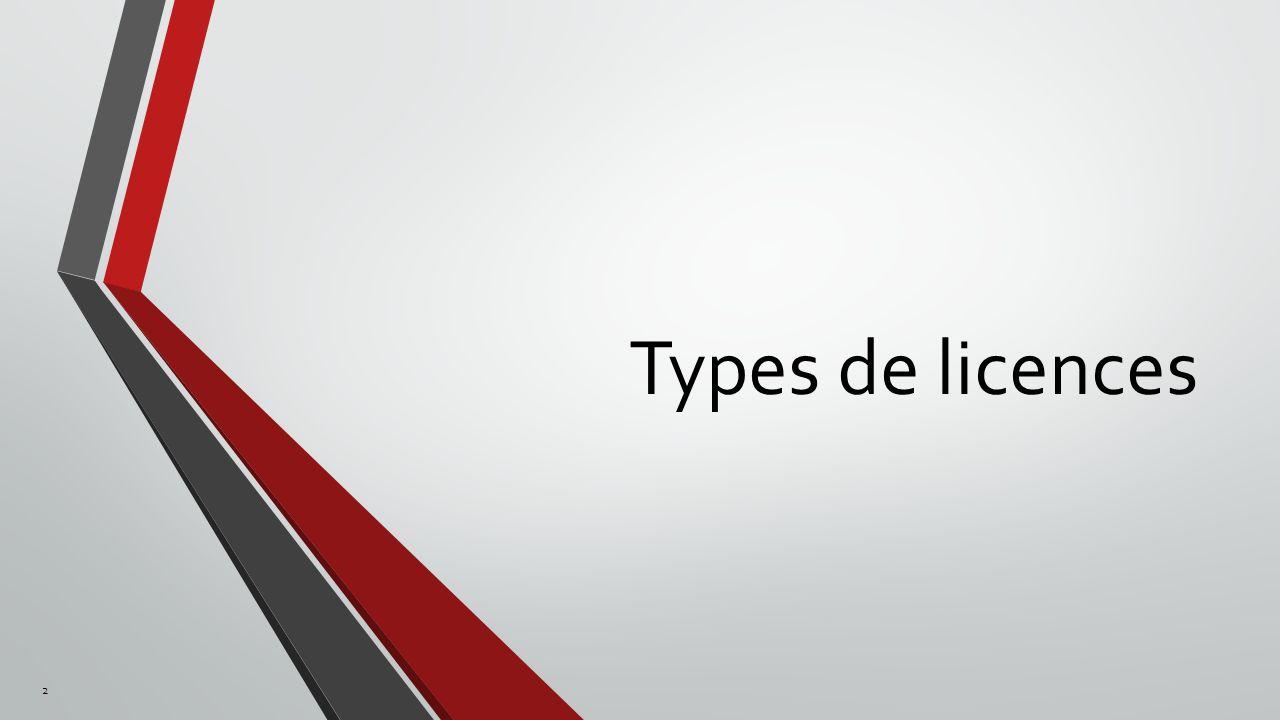 Types de licences 2