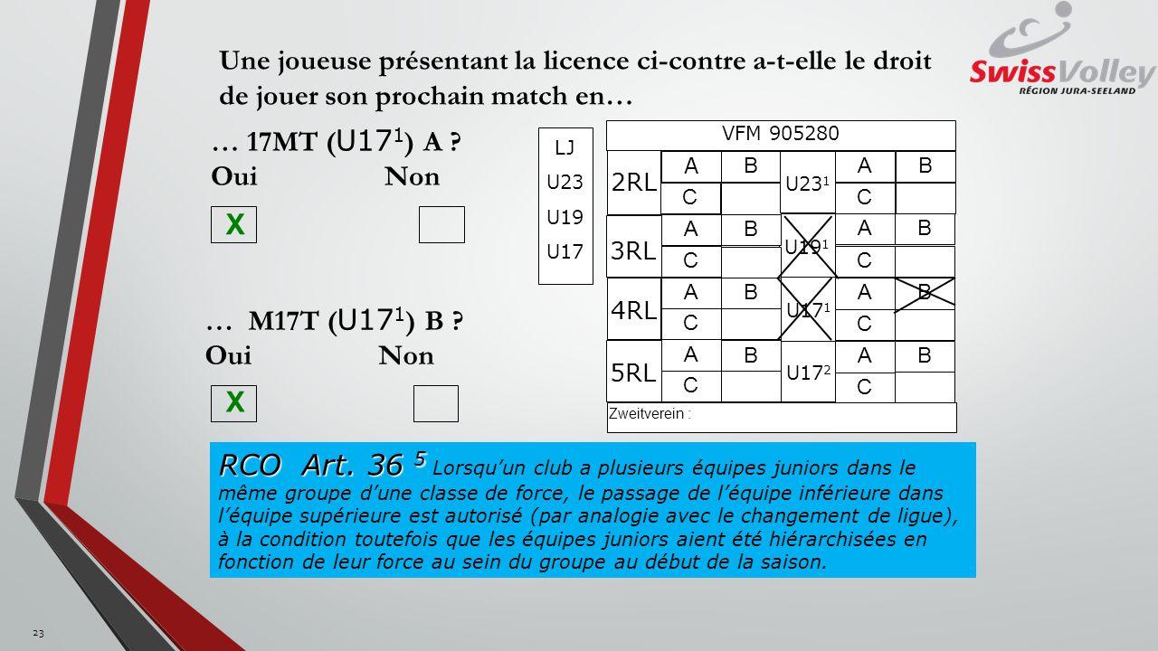 Une joueuse présentant la licence ci-contre a-t-elle le droit de jouer son prochain match en… U19 1 U17 2 2RL 4RL U17 1 A C B VFM 905280 U23 1 A C B A C B A C B A C B 3RL A C B A C B 5RL A C B Zweitverein : LJ U23 U19 U17 … M17T ( U17 1 ) B .