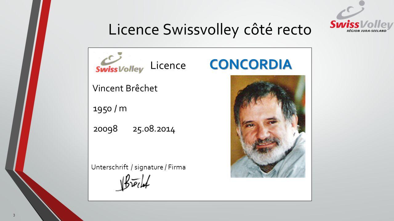 Licence Swissvolley côté recto 3 CONCORDIA Licence CONCORDIA Vincent Brêchet 1950 / m 20098 25.08.2014 Unterschrift / signature / Firma