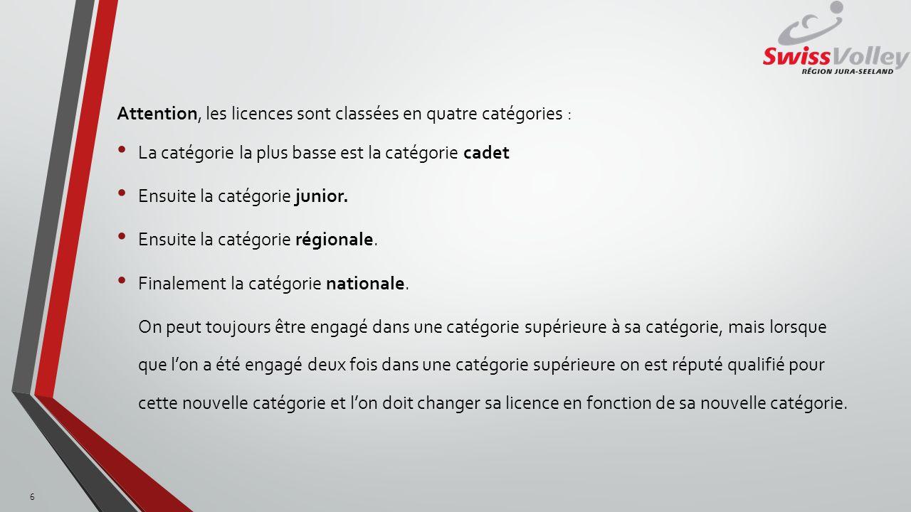 Attention, les licences sont classées en quatre catégories : La catégorie la plus basse est la catégorie cadet Ensuite la catégorie junior.