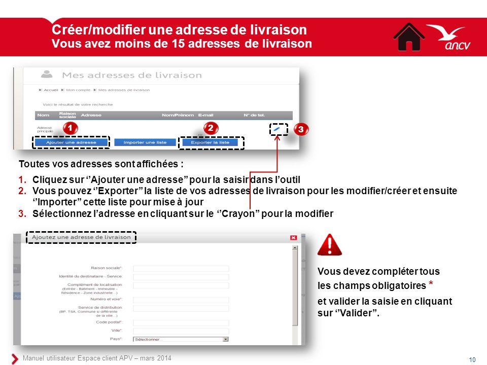 Créer/modifier une adresse de livraison Vous avez moins de 15 adresses de livraison 10 Manuel utilisateur Espace client APV – mars 2014 Toutes vos adr