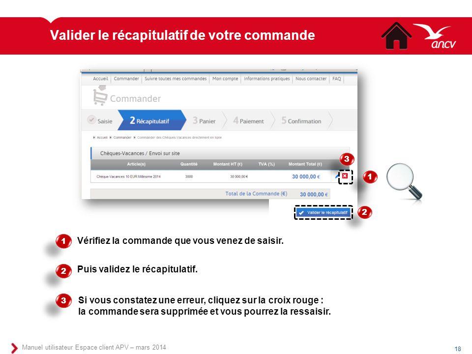 Valider le récapitulatif de votre commande 18 Manuel utilisateur Espace client APV – mars 2014 Vérifiez la commande que vous venez de saisir. 1 1 2 2