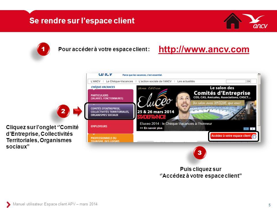 Se rendre sur l'espace client Manuel utilisateur Espace client APV – mars 2014 5 Pour accéder à votre espace client : 1 1 2 2 Cliquez sur l'onglet ''C