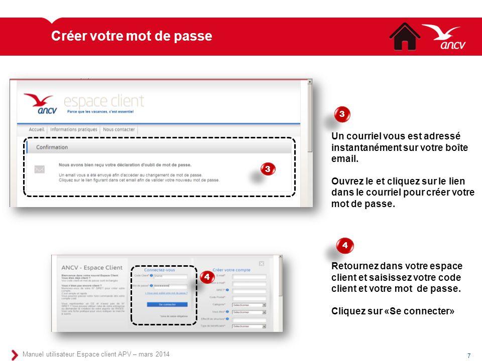 Créer votre mot de passe 7 Manuel utilisateur Espace client APV – mars 2014 Un courriel vous est adressé instantanément sur votre boîte email. Ouvrez