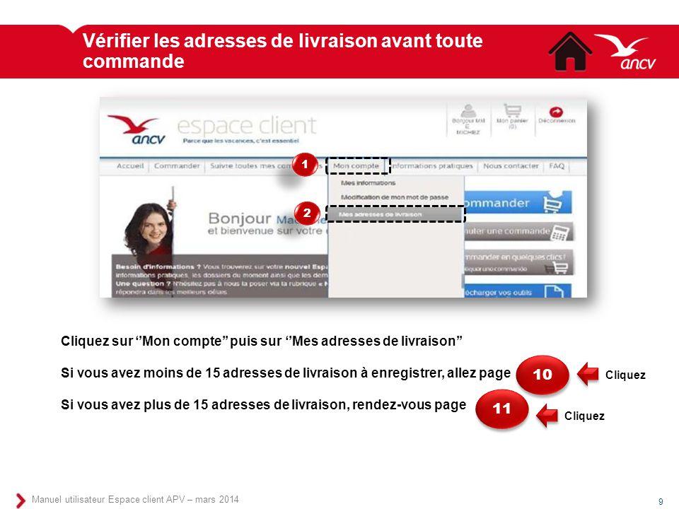 Vérifier les adresses de livraison avant toute commande 9 Manuel utilisateur Espace client APV – mars 2014 Cliquez sur ''Mon compte'' puis sur ''Mes a