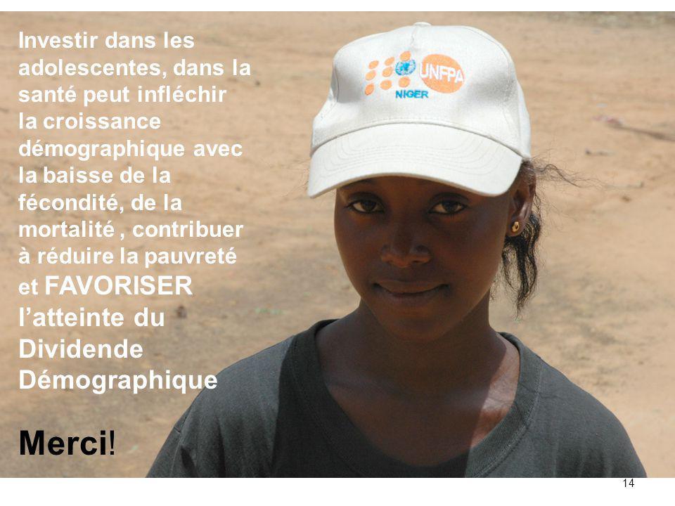 14 Investir dans les adolescentes, dans la santé peut infléchir la croissance démographique avec la baisse de la fécondité, de la mortalité, contribuer à réduire la pauvreté et FAVORISER l'atteinte du Dividende Démographique Merci!