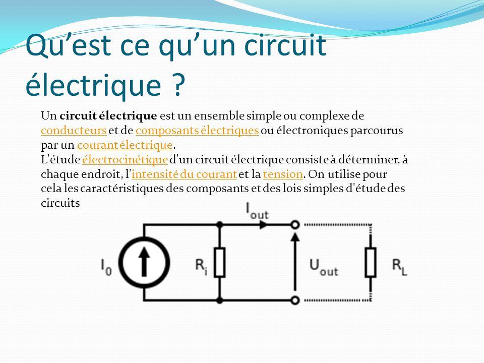 Qu'est ce qu'un circuit électrique ? Un circuit électrique est un ensemble simple ou complexe de conducteurs et de composants électriques ou électroni