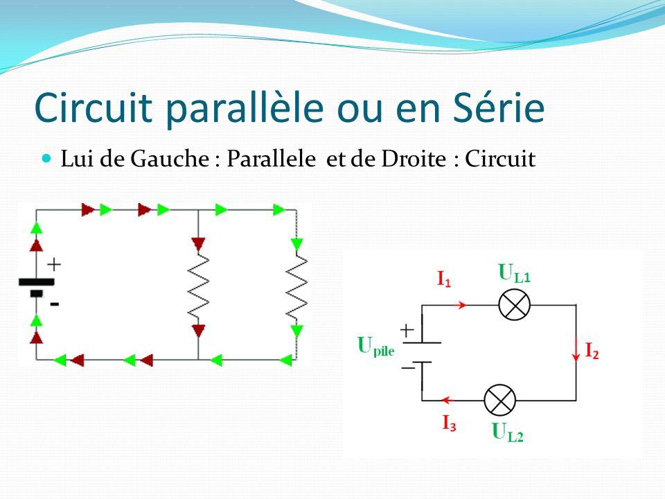 Circuit parallèle ou en Série Lui de Gauche : Parallele et de Droite : Circuit
