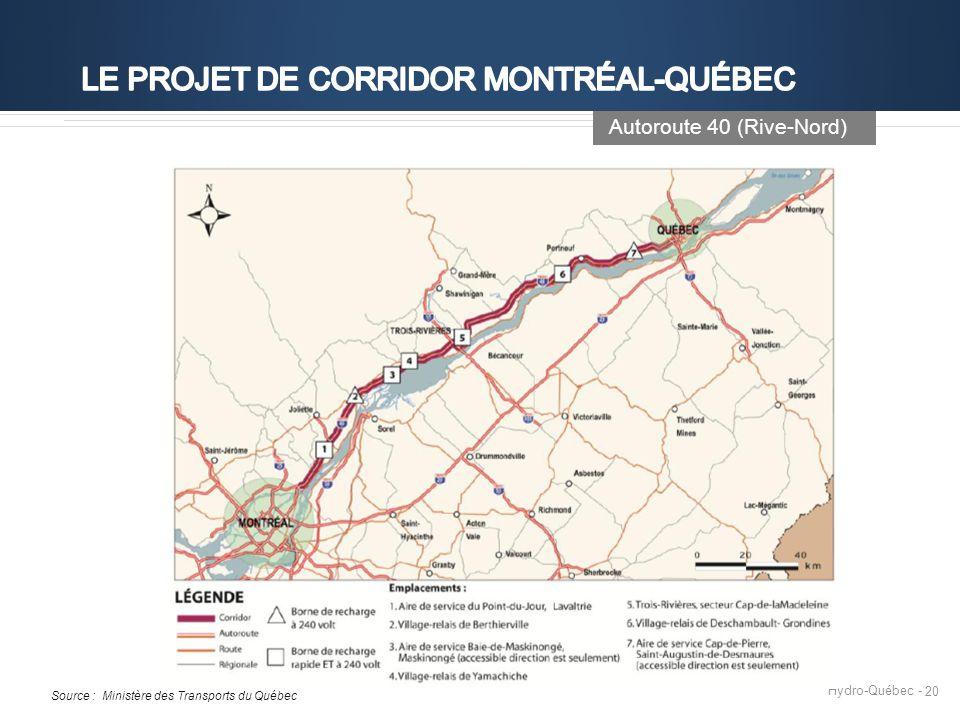 Hydro-Québec - 20 Autoroute 40 (Rive-Nord) Source : Ministère des Transports du Québec