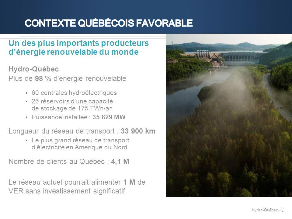 3 Un des plus importants producteurs d'énergie renouvelable du monde Hydro-Québec Plus de 98 % d'énergie renouvelable 60 centrales hydroélectriques 26 réservoirs d'une capacité de stockage de 175 TWh/an Puissance installée : 35 829 MW Longueur du réseau de transport : 33 900 km Le plus grand réseau de transport d'électricité en Amérique du Nord Nombre de clients au Québec : 4,1 M Le réseau actuel pourrait alimenter 1 M de VER sans investissement significatif.