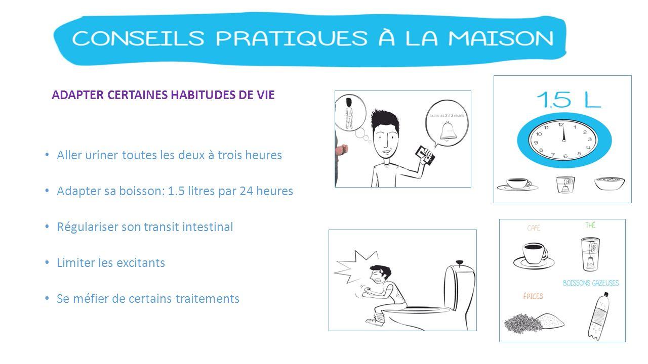 ADAPTER CERTAINES HABITUDES DE VIE Aller uriner toutes les deux à trois heures Adapter sa boisson: 1.5 litres par 24 heures Régulariser son transit in