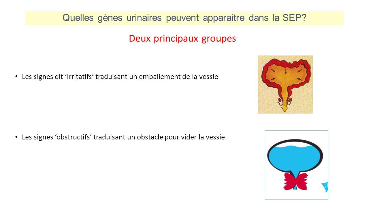 Quelles gènes urinaires peuvent apparaitre dans la SEP? Deux principaux groupes Les signes dit 'Irritatifs' traduisant un emballement de la vessie Les